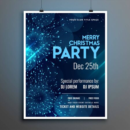 merry christmas event party flyer template with fireworks