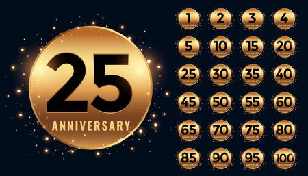beautiful golden anniversary labels banner big collection Ilustrace