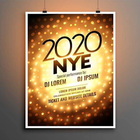 2020 musical night new year party golden flyer design Иллюстрация
