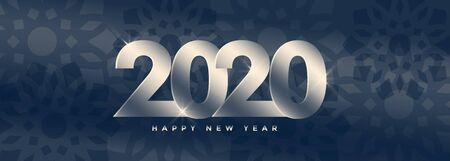 elegant 2020 happy new year silver banner design