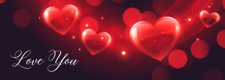 shiny hearts bokeh banner for valentines day