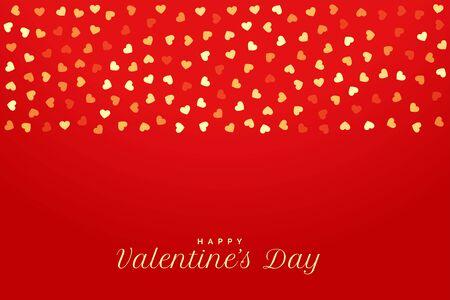 金色のハートとバレンタインデー赤い背景 ベクターイラストレーション