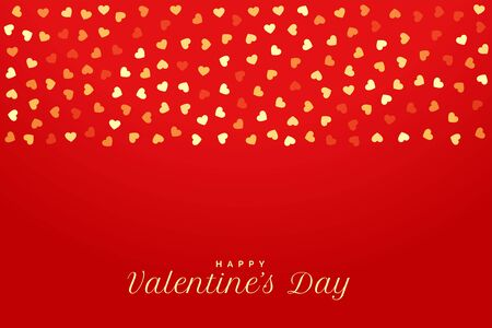 valentines day red background with golden hearts Vektoros illusztráció