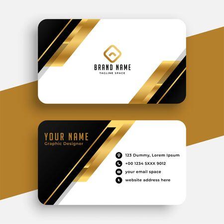 diseño moderno de tarjetas de visita negras y doradas