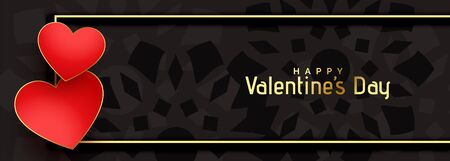 valentines day black banner with two hearts