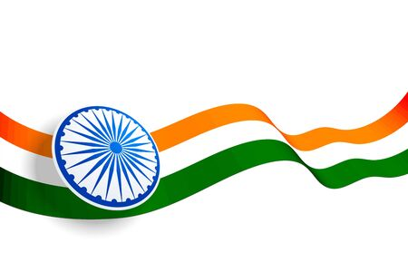 ondeando el diseño de la bandera india con chakra azul