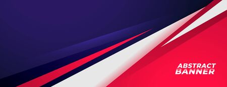 Diseño de banner de estilo deportivo en colores rojo y morado. Ilustración de vector