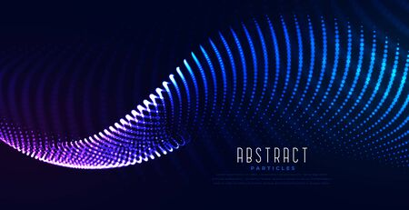 glowing digital particle wave digital technology background Ilustracja