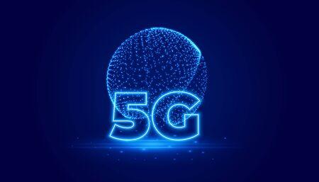 5G telecommunication technology digital background design Illusztráció