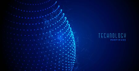 digital technology abstract blue glowing particles background
