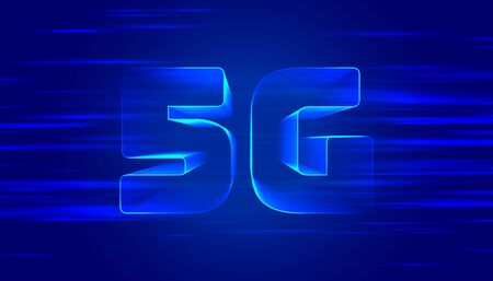 blue 5G fifth generation technology background design