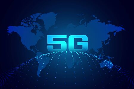 global 5g technology digital network background Illusztráció