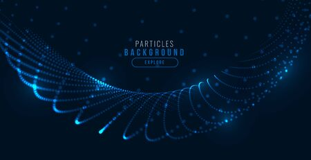 glowing digital blue technology particle wave background