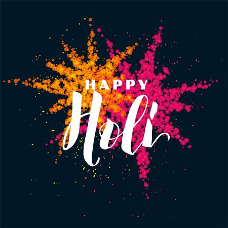 happy holi festival card with colors powder design