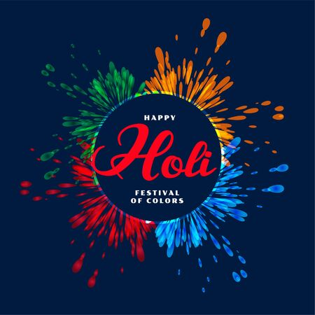 abstract color splash for happy holi festival background Illustration
