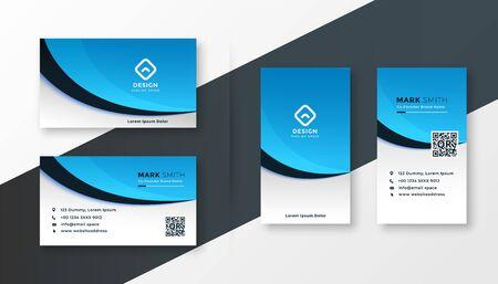 modern blue wavy business card template design