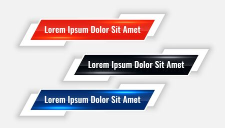 modern lower thirds banner set in three colors