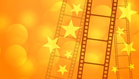 film reel strip with stars cinema background Illusztráció