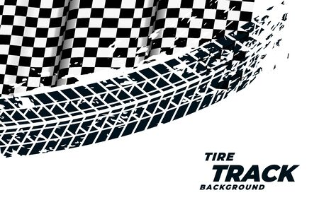 racing flag with tire track print background
