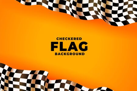 3d checkered racing flag yellow background 일러스트