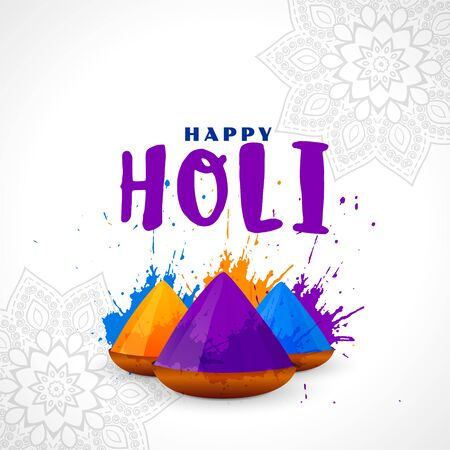 happy holi festival card colorful background design Illustration