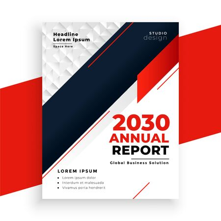 modern geometric red annual report business template