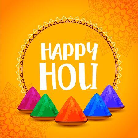 happy holi stylish yellow festival background design