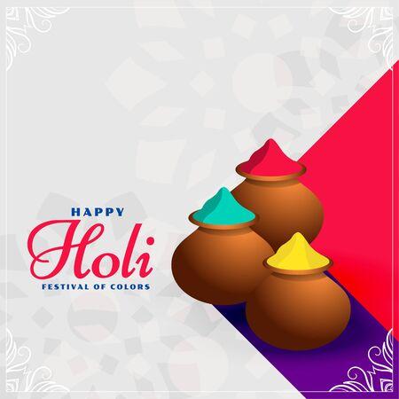 happy holi colors pots festival background design