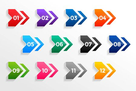 arrow style geometric bullet points numbers set