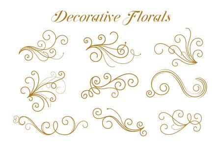 Conjunto de diseño ornamental de flores doradas decorativas