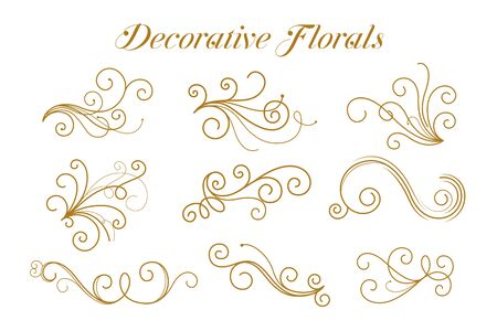 set di motivi ornamentali floreali dorati decorativi