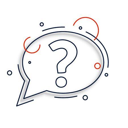 line style question mark chat bubble design