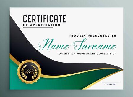 certificate of appreciate modern golden template design Vettoriali