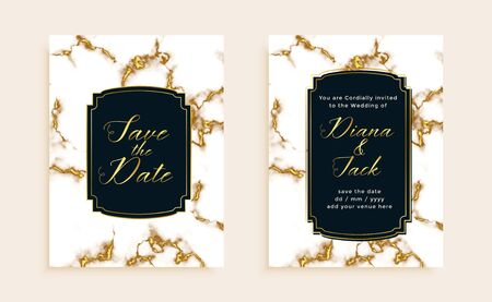 marble texture wedding invitation card template design Vector Illustration
