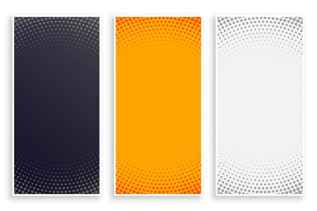 abstract halftone style empty vertical banners set