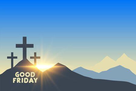 three cross symbols with sunrise good friday background