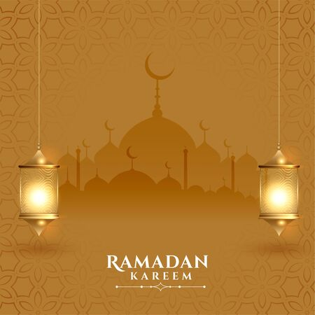 beautiful ramadan kareem festival card with lanterns Vector Illustration