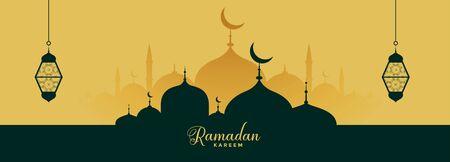ramadan kareem elegant banner with mosque and lantern Vector Illustratie
