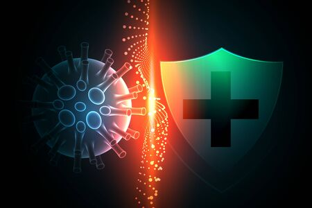 virus protection shield preventing coronavirus to enter background Banque d'images - 143289840