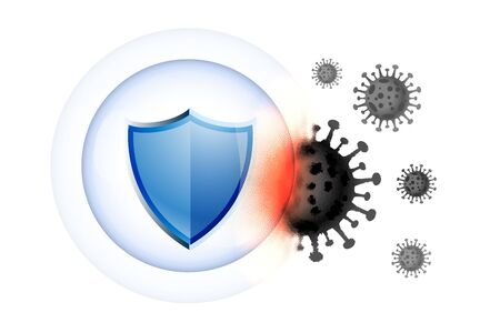 healthcare medical shield guard protecting from virus Banque d'images - 143289843