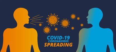 covid-19 coronavirus spreading concept from humans to humans