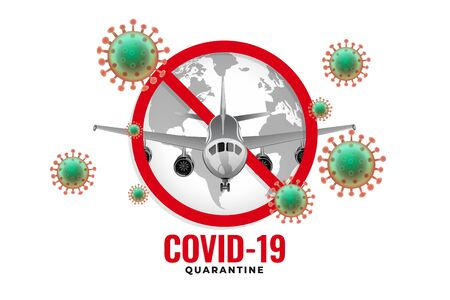 airplane stopped from flying due to coronavirus outbreak 일러스트