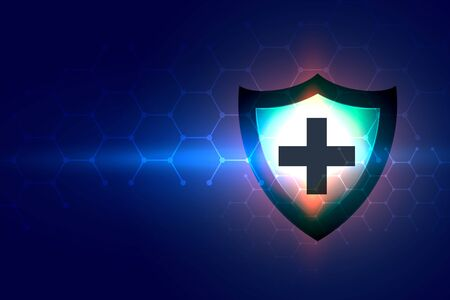 healthcare background with medical shield protection sign