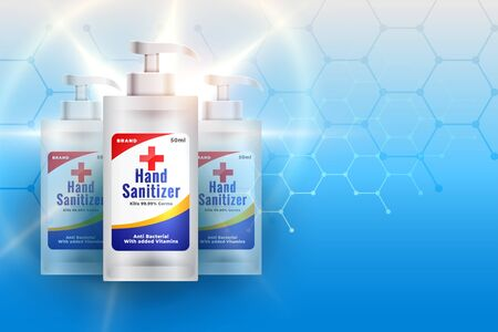 hand santizer realtistic 3d bottle with medical background