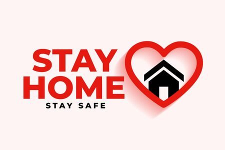 stay home background with heart and house symbol 向量圖像
