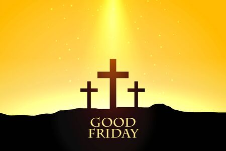 good friday background with crosses scene design  イラスト・ベクター素材