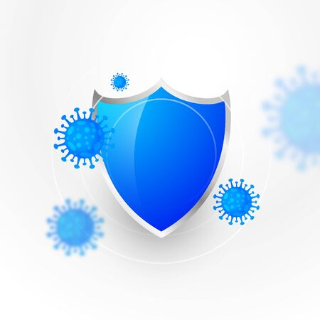 medical protection shield stopping and destroying coronavirus