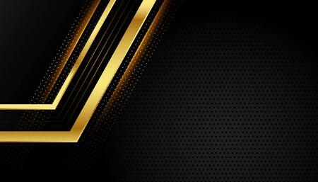 shiny golden geometric lines on black background Vektoros illusztráció