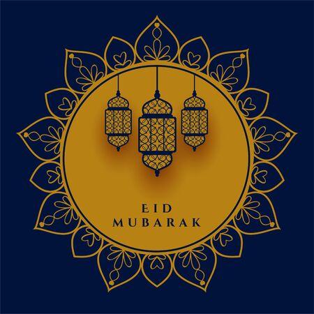 eid mubarak decorative lamp festival greeting design