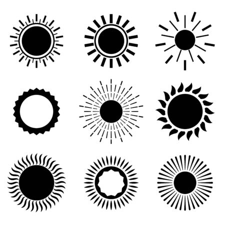 sun icons in flat black color set of nine